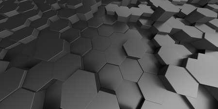 Futuristic technology concept. Hexagon shapes surface. 3d render illustration