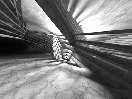 Abstract architecture background. Empty rough concrete interior. 3d render
