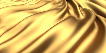 Golden fabric silk background. Yellow satin wavy texture. 3d render illustration