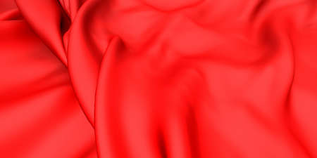 Abstract red luxury cloth background. Silk fabric texture. 3d render illustration