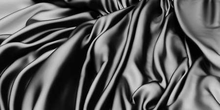 Abstract background luxury cloth waves. dark wavy soft wrinkled fabric. 3d render illustration