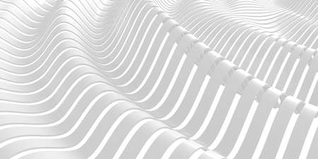 White abstract liquid wavy background. 3d render illustration