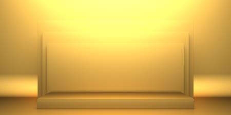 Golden luxurious pedestal or blank podium. Beautiful elegant background. 3d render 免版税图像
