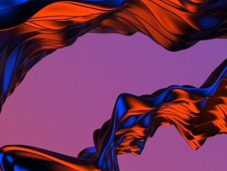 Colorful Liquid metallic wavy background. 3d render illustration