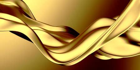 Golden abstract wavy liquid background. 3d render illustration 免版税图像