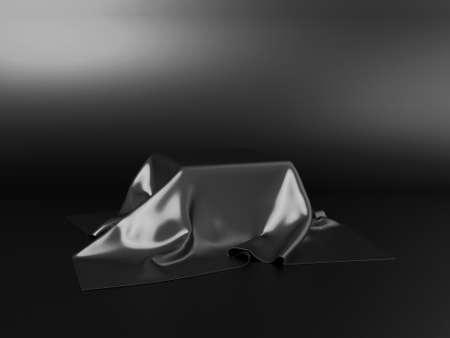 Black stand podium on dark background. Realistic dark platform. 3d render