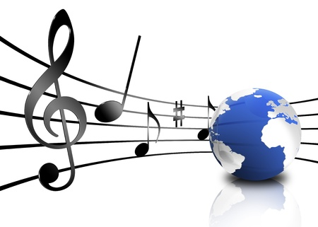 crotchets: Various musical notes on stave near a planet Stock Photo