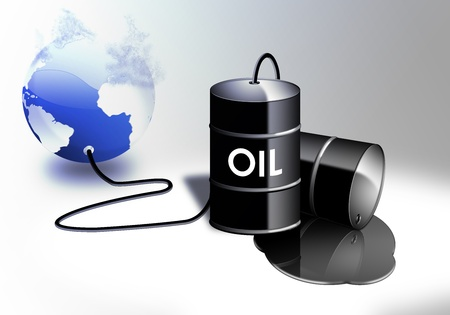 residuos toxicos: Industria del Petróleo con un barril de tambor negro verter y derramar petróleo fósil de combustible líquido con un planeta colapso