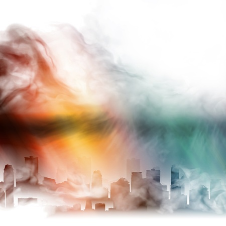 enveloped: the city is enveloped in a mysterious fog