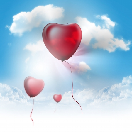 corazones azules: Globos del coraz�n Foto de archivo