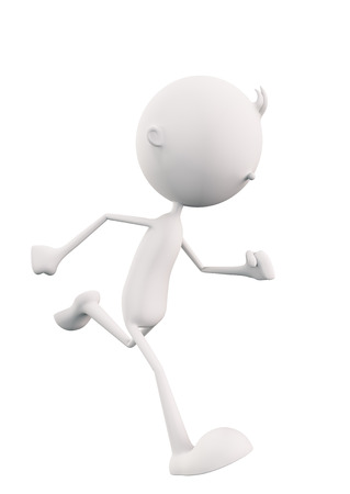 3d White character is running photo