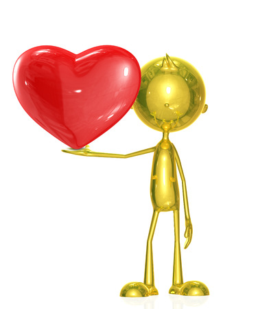 adoration: 3d Illustration of golden character with heart Stock Photo