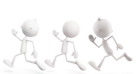 3d illustration of white character with run pose illustration