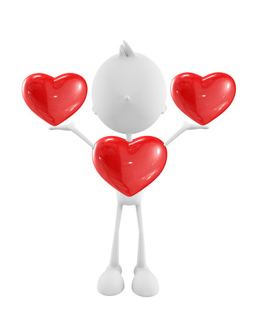 3d illustration of white character with heart illustration