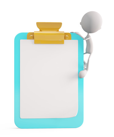 writing pad: 3d illustration of white character with writing pad Stock Photo