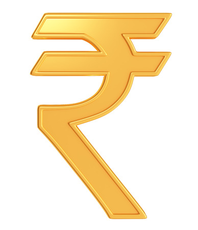 3d Illustration Of Indian Rupee Symbol In Golden Color Stock Photo