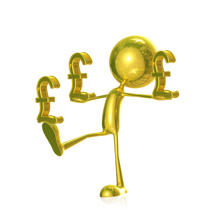 3d Illustration of golden character with pound Stock Photo