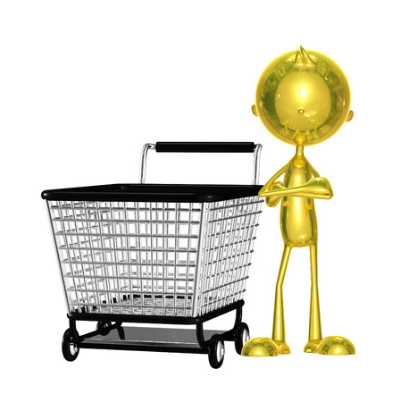 Illustration of 3d golden character with trolley Stock Photo
