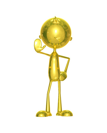 striped vest: Illustration of 3d golden character with stop