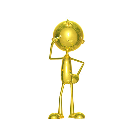 Illustration of 3d golden character with salute illustration