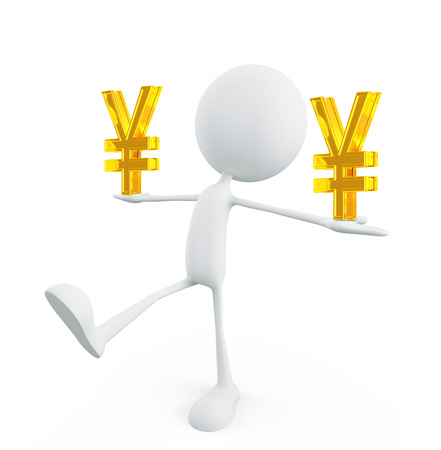 yen sign: 3d illustration of white character with yen sign