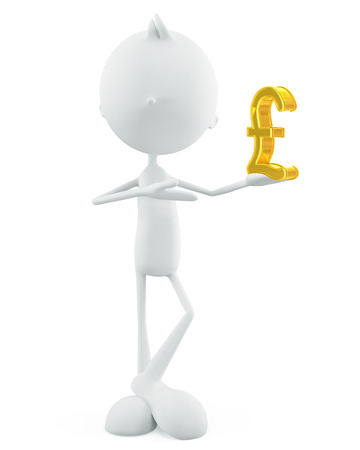 pound sign: 3d illustration of white character with pound sign