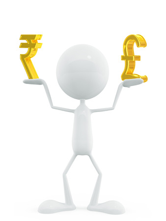 pound sign: 3d illustration of white character with rupee and pound sign Stock Photo