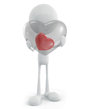 adoration: 3d illustration of white character with heart