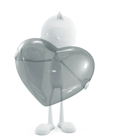 adoration: 3d illustration of white character with transparent heart