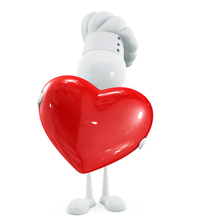 adoration: 3d Illustration of white chef with red heart Stock Photo