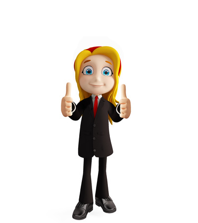 educated: 3d illustration of businesswomen with thumbs up pose