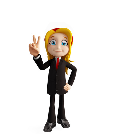 3d illustration of businesswomen with win pose
