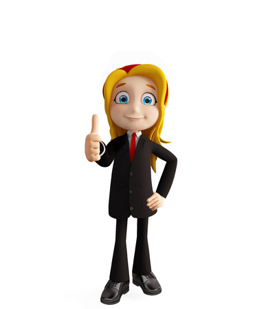 businesswomen: 3d illustration of businesswomen with thumbs up pose