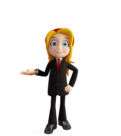 educated: 3d illustration of businesswomen with presentation pose