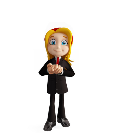 3d illustration of businesswomen with promise pose