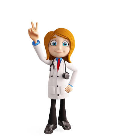 3d illustration of female doctor with win sign