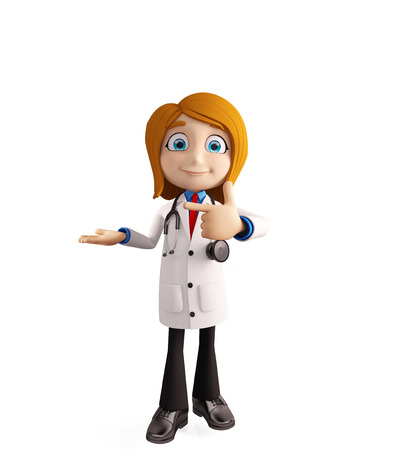 premises: 3d illustration of female doctor with presentation pose