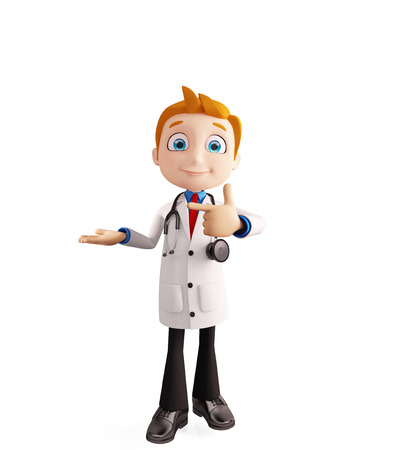 3d illustration of doctor with presentation pose Stock Photo