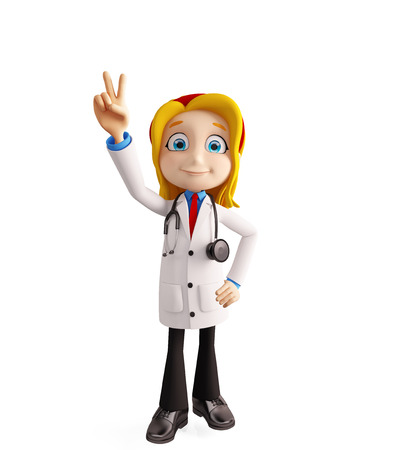 3d illustration of female doctor with win pose