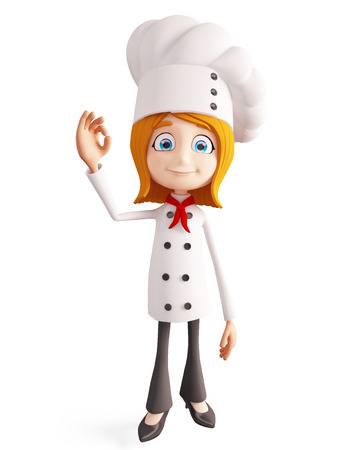 fine cuisine: 3d illustration of chef character with best sign