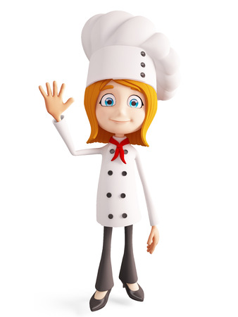 bye: 3d illustration of chef character with saying bye pose