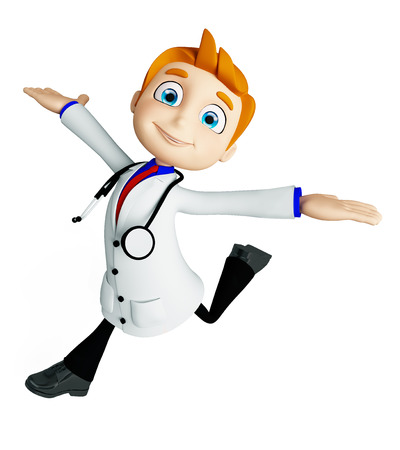 3d illustration of doctor with run pose
