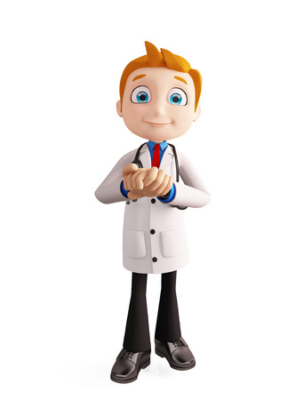 3d illustration of doctor with promise pose