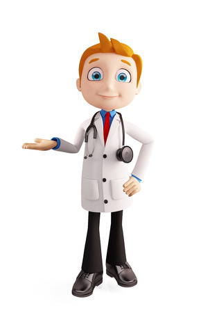 premises: 3d illustration of doctor with presentation pose Stock Photo