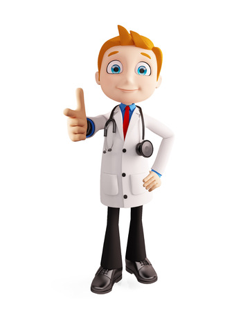 3d illustration of doctor with pointing pose Stock Photo