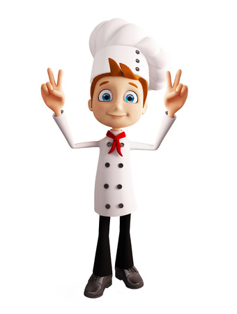 surmount: 3d illustration of chef character with win pose