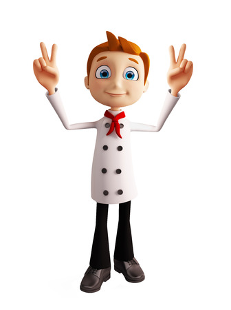 3d illustration of chef character with win pose
