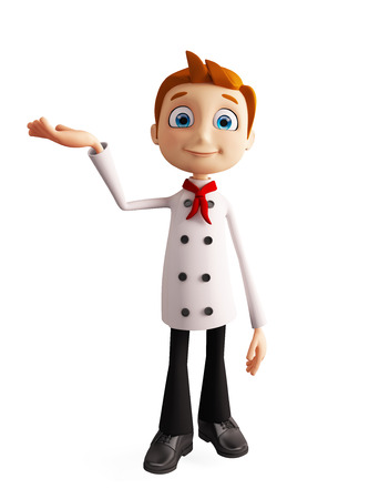 3d illustration of chef character with presentation pose Stok Fotoğraf