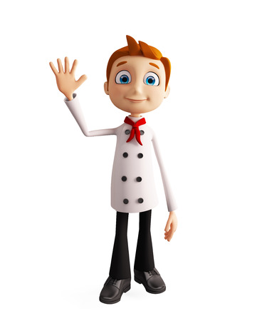 3d illustration of chef character with bye pose illustration