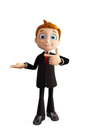 hint: 3d illustration of businessman with pointing pose Stock Photo